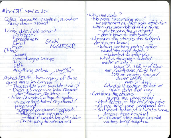 Scan of my handwritten notes from Hacks/Hackers Ottawa, page 1