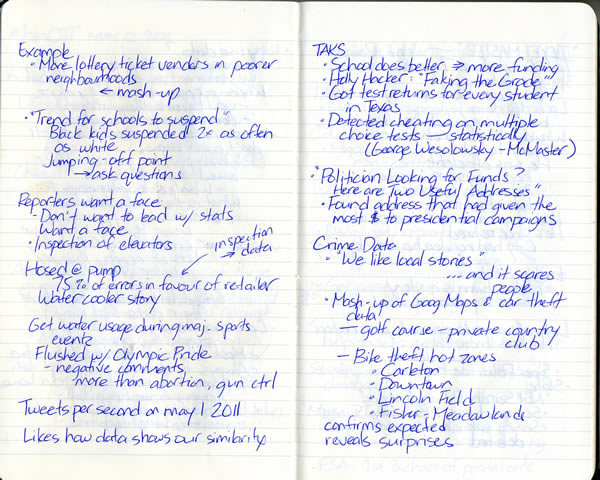 Scan of my handwritten notes from Hacks/Hackers Ottawa, page 2