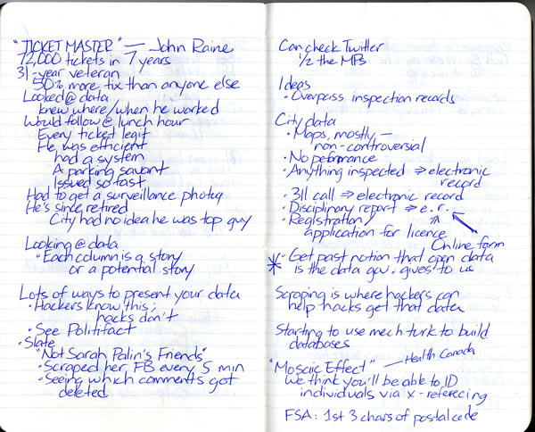 Scan of my handwritten notes from Hacks/Hackers Ottawa, page 3