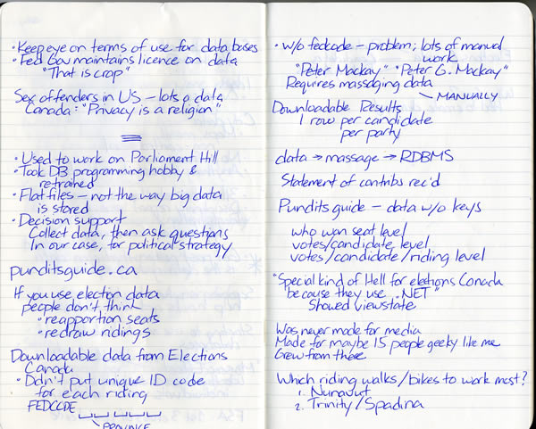 Scan of my handwritten notes from Hacks/Hackers Ottawa, page 4