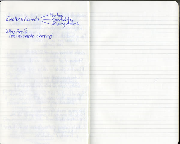 Scan of my handwritten notes from Hacks/Hackers Ottawa, page 5