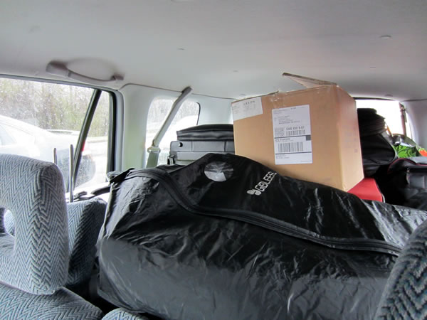 The back of my car, packed with stuff