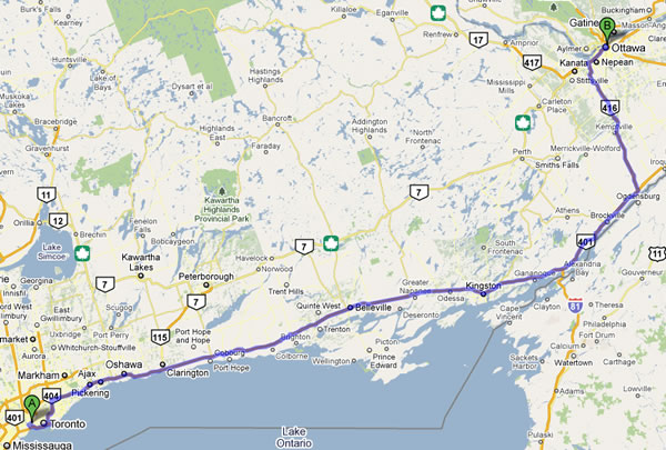 Map showing the route from Toronto to Ottawa