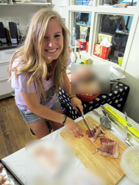Anna slices bacon