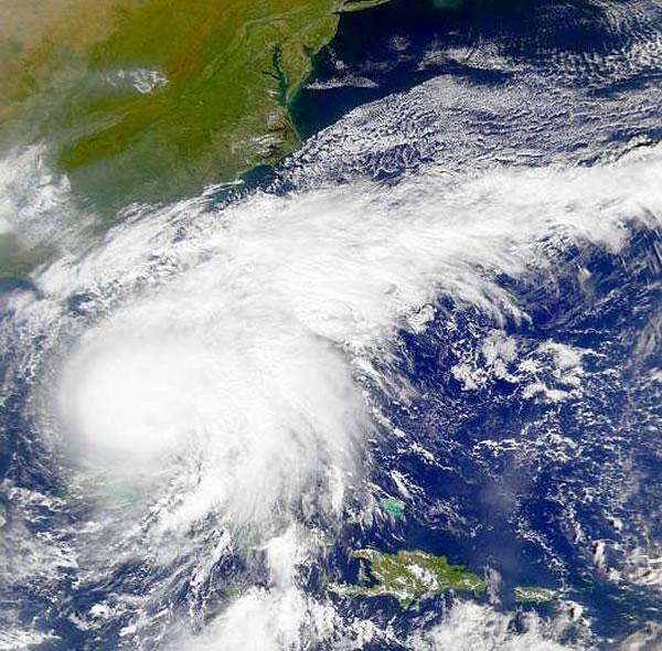 Satellite photo of Hurricane Irene approaching the U.S. eastern seaboard.