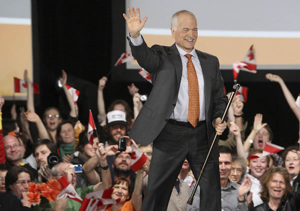 Jack layton cheering crowd