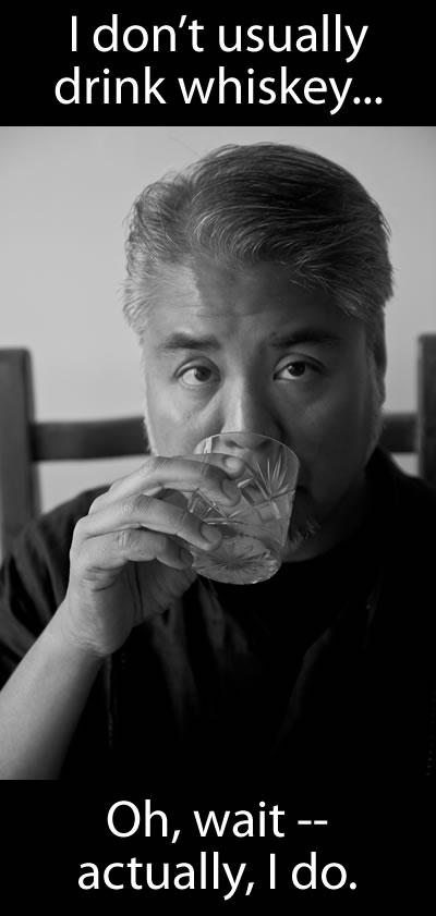 Joey devilla drinking whiskey