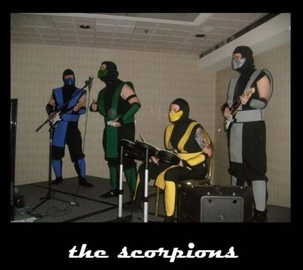 The Scorpions: four guys playing 'Rock Band', dressed up as 'Scorpion' from 'Mortal Kombat'.