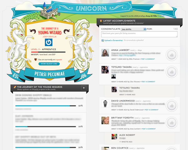 Screen shot of Unicorn's main page