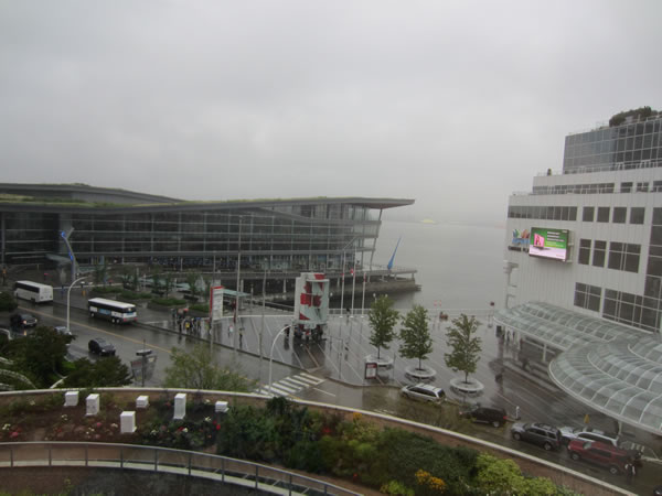 Vancouver convention centre in the rain