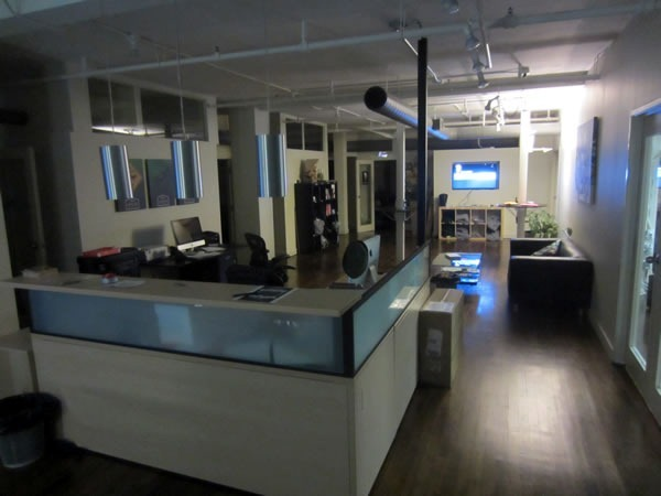 The reception desk and lobby at Shopify