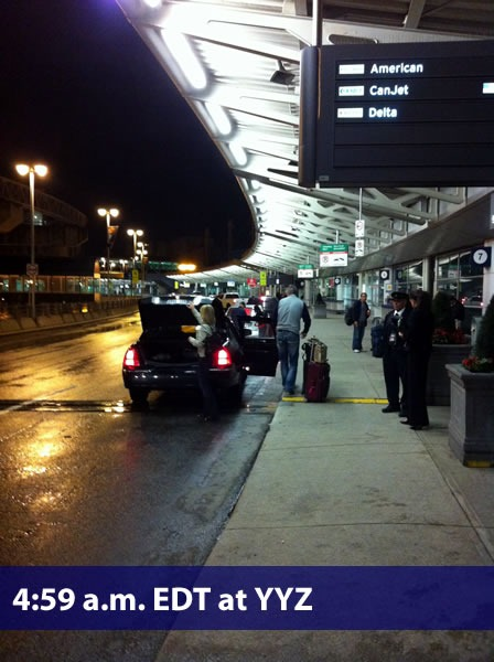"""4:59 a.m. EDT at YYZ"": The passenger drop-off at Pearson airport, early this morning"