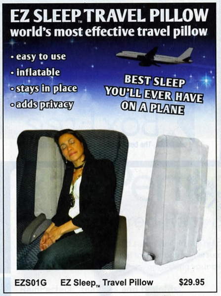 SkyMall ad for the EZ Sleep travel pillow, featuring a woman leaning against an inflatable wall mountedon the armrest of her airline seat