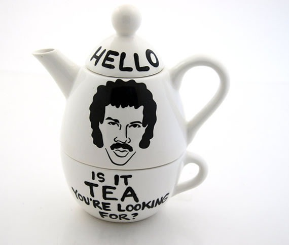 "Teapot with Lionel Richie's face marked ""Hello, is it TEA you're looking for?"""