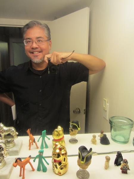 Self-portrait of Joey deVilla, taken in a mirror, showing off his new glasses