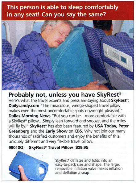 SkyMall as for the SkyRest travel pillow, featuring man leaning forward on a large blue pillow mounted on the seatback tray table