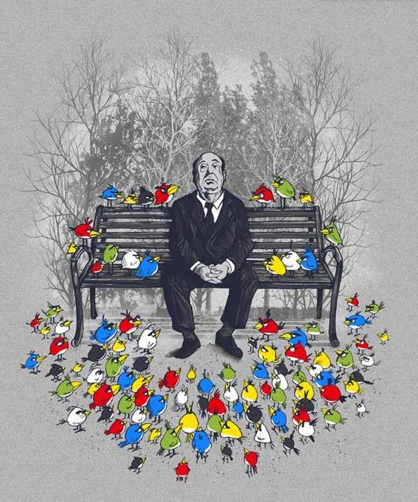 "Illustration of Alfred Hitchcock sitting on a park bench, surrounded by the birds from ""Angry Birds"""