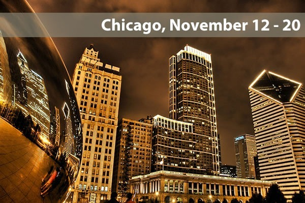 """Chicago, November 12 - 20"": Photo of Chicago buildings and Millennium Park ""Bean"""