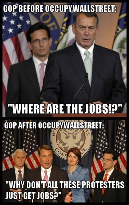 "Photos of John Boehner on different occasions: ""GOP before Occupy Wall Street: Where are the jobs? / GOP after Occupy Wall Street: Why don't all those protesters just get jobs?"""