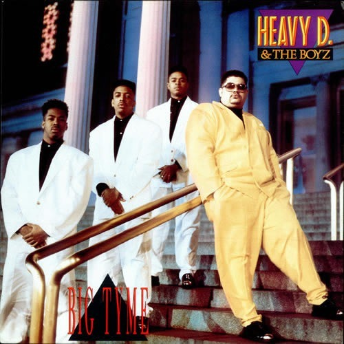 """Cover of the album """"Big Tyme"""" by Heavy D and the Boyz, featuring Heavy D in a big yellow suit"""