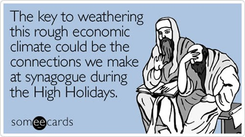 """Greeting card featuring two men praying: """"The key to weathering this rough economic climate could be the connections we make at synagogue during the High Holidays."""""""
