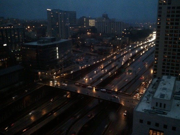 View of the highway from Seattle Crowne Plaza hotel at night