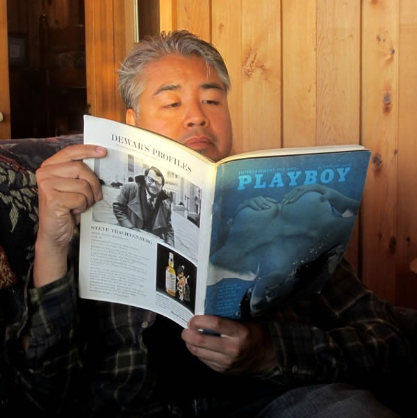 Joey deVilla reading an early 1970s edition of Playboy