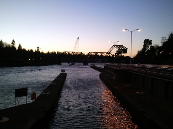 Puget Sound locks after sunset, with some light still in the sky
