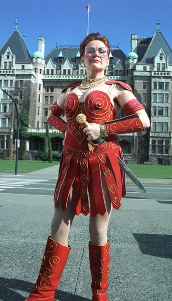"Mary Walsh dressed in her ""Marg Princess Warrior"" costume"