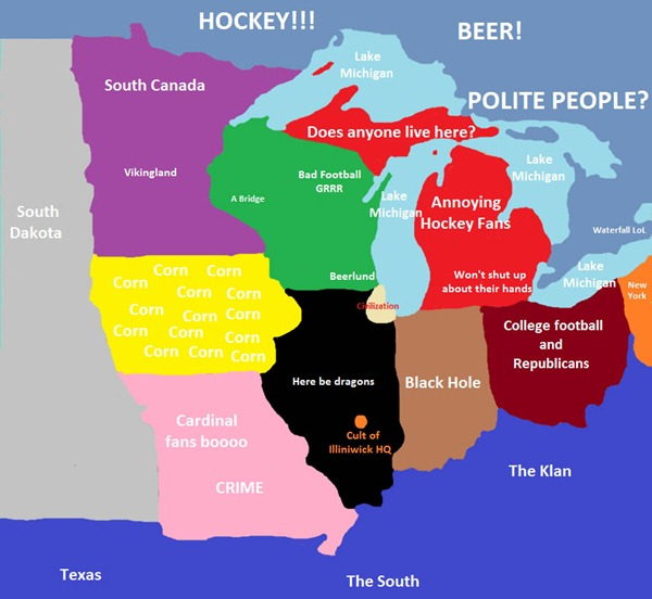 Map of the midwest, as seen by Chicagoans