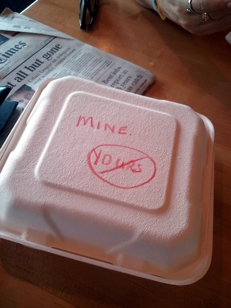 "Take-out container with the word ""Mine"" and ""Yours"" in a ""forbidden"" circle."