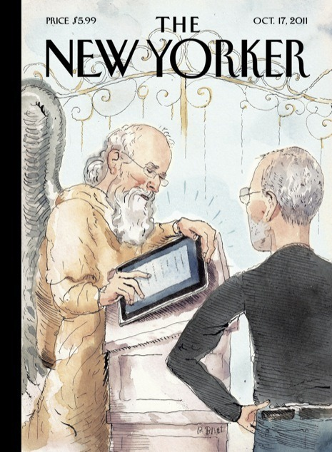Cover of the New Yorker, October 17, 2011, featuring an illustration of Steve Jobs at the Pearly Gates, with St. Peter processing him on an iPad