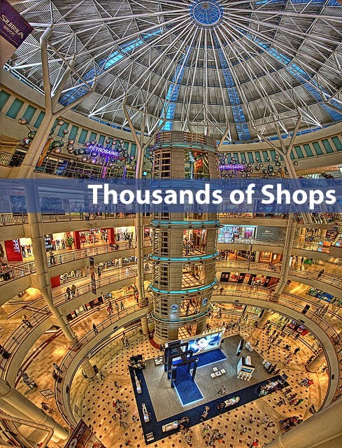 """Thousands of Shops"": Panoramic view of large shopping center"