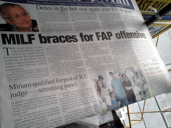 "Newspaper with headline ""MILF braces for FAP offensive"""