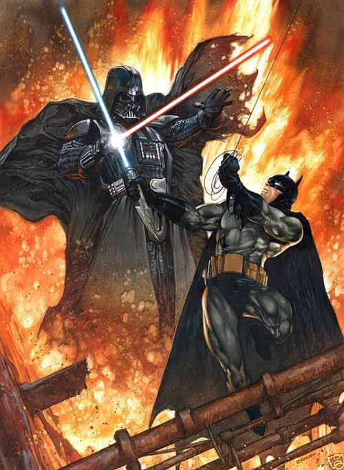 Darth Vader having a lightsaber duel with Batman