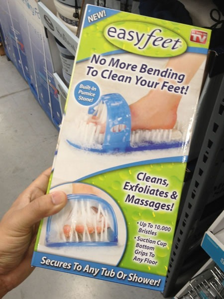 """Box of Easyfeet foot brushes: """"No more bending to clean your feet! Cleans, exfoliates and massages!"""""""