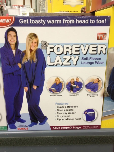 "Package for Forever Lazy ""Soft fleece lounge wear"": ""Get toasty warm from head to toe! Read a book - watch TV - do nothing at all!"""
