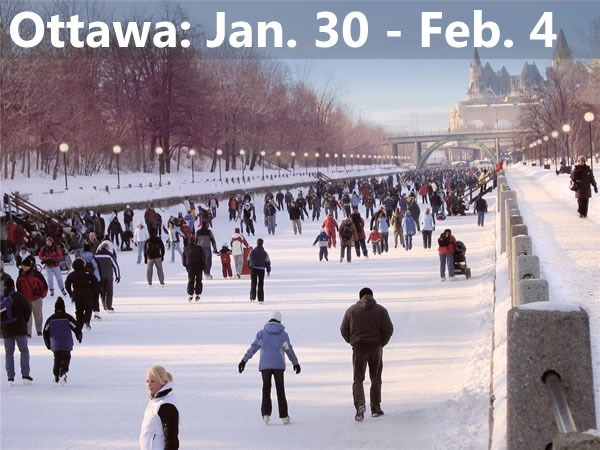 Ottawa: Jan 30 - Feb 4 -- Photo of people skating on the frozen Rideau Canal with the Parliament building in the background