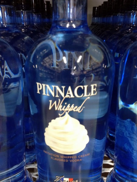 Bottle of Pinnacle whipped cream-flavoured vodka