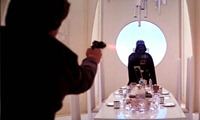 han solo shooting at darth vader