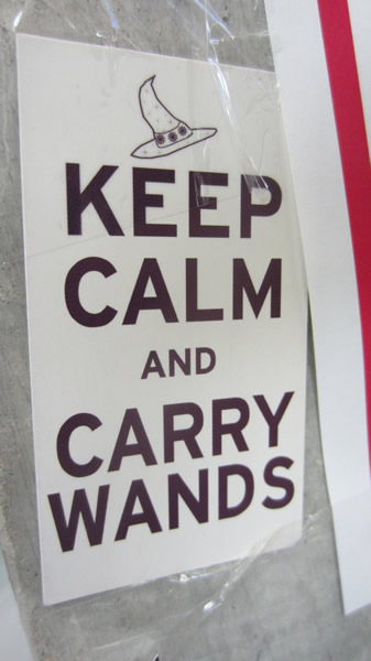 "Poster: ""Keep calm and carry wands."""