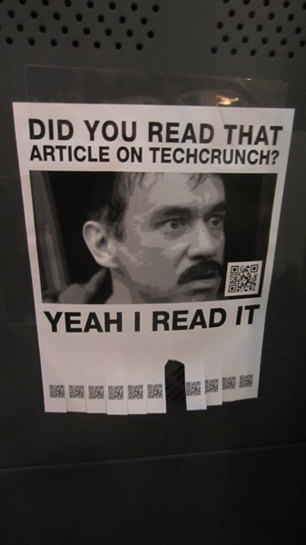 "Poster: ""Did you read that article on TechCrunch? Yeah I read it."""