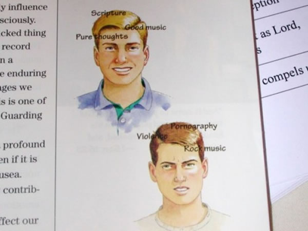 """""""Goofus and Gallant""""-style picture in a Christian textbook: Gallant is smiling awkwardly with the words """"Good music"""", """"Scripture"""" and """"Pure thoughts""""; Goofus is frowning with the words """"Rock music"""", """"violence"""" and """"pornography"""""""