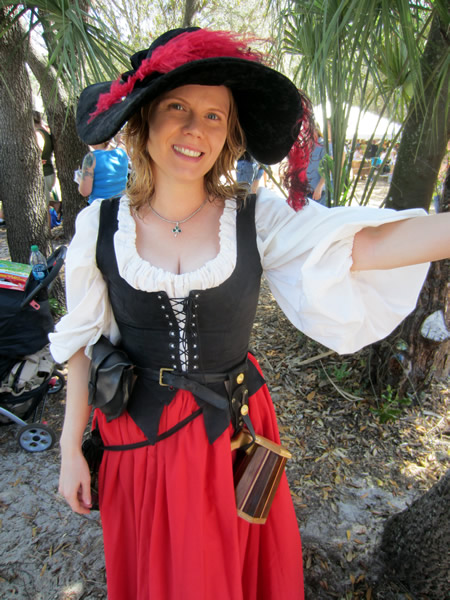 Young lady in full renaissance faire dress