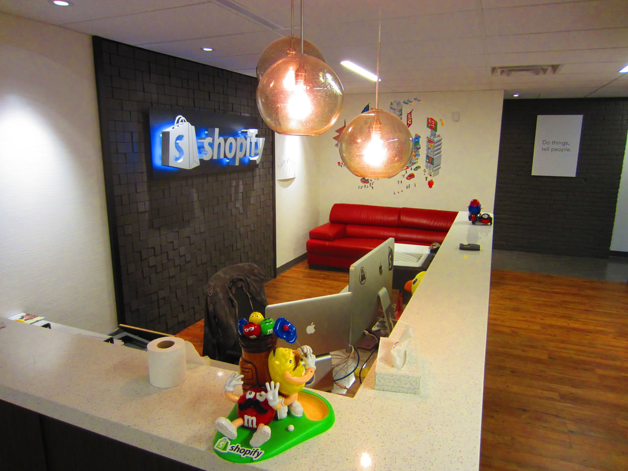 Shopify office lobby, featuring the front desk
