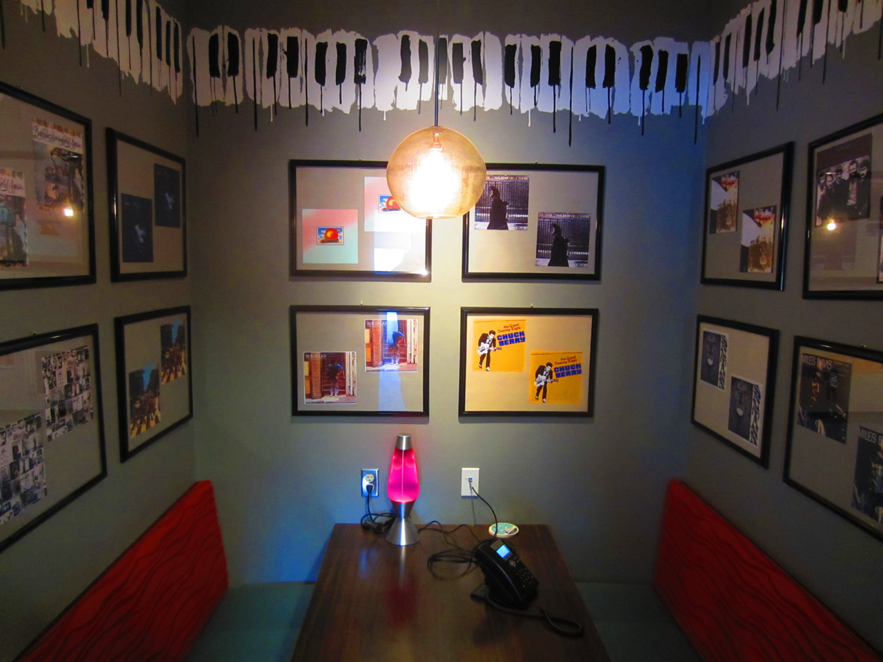 Shopify's music room, as seen from the door