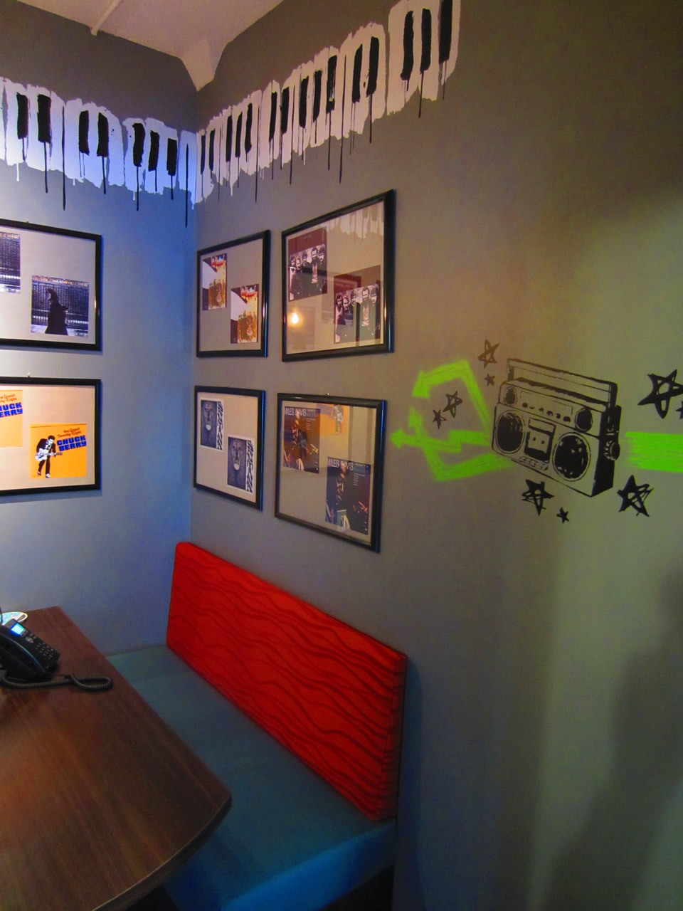 View of posters on the wall of the music room