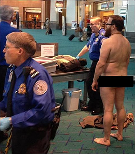 John E. Brennan, naked at airport security