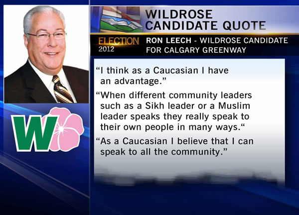 "Still from CTV showing Ron leech's quote: ""I think as a Caucasian I have an advantage. When different community leaders such as a Sikh leader or a Muslim leader speaks, they really speak to their own people in many ways. As a Caucasian I believe that I can speak to all the community."""