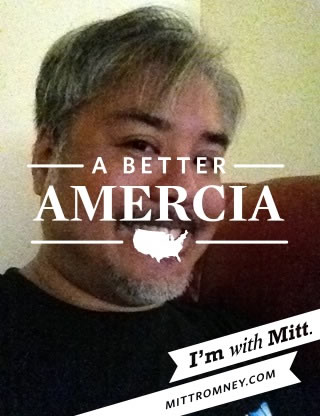 "Joey deVilla's photo taken with the ""With Mitt"" app and its traitorous ""A Better Amercia"" overlay"